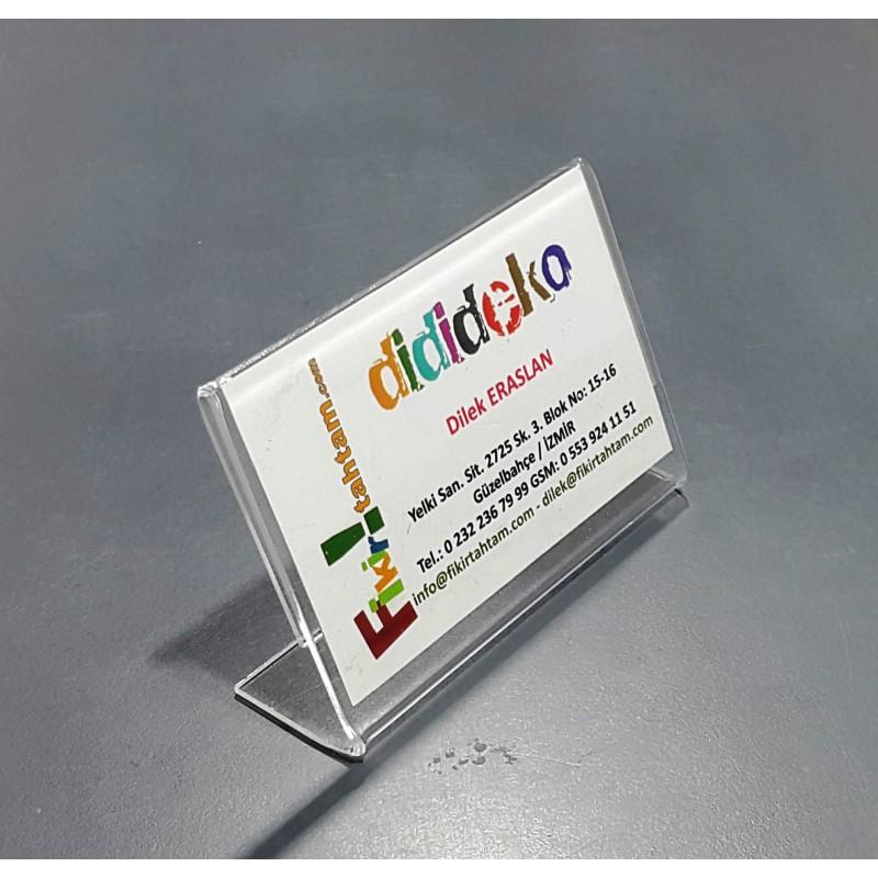8755 L Ayaklı Yatay Kartvizit Pleksi Föylük (8,7 x 5,5 cm)