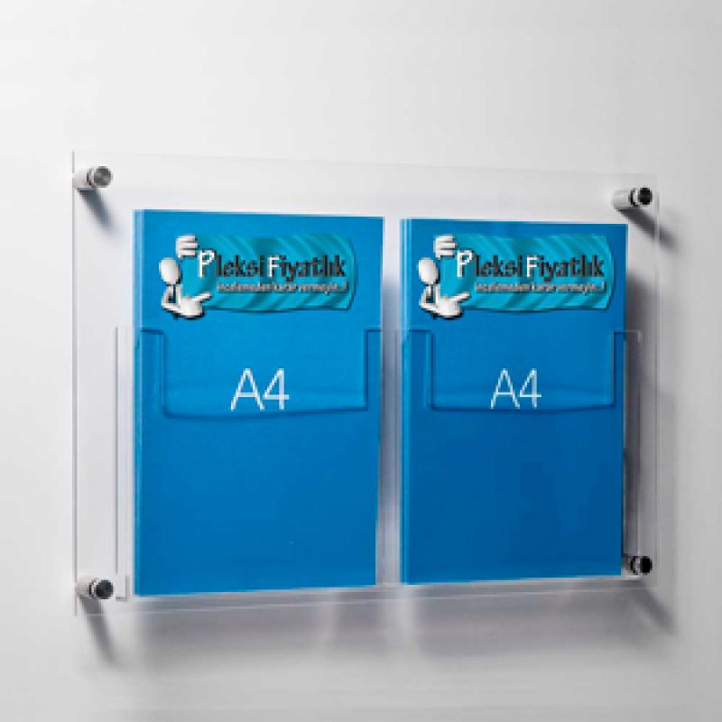 DBR 302 2xA4 Duvar montajlı tip pleksi broşürlük