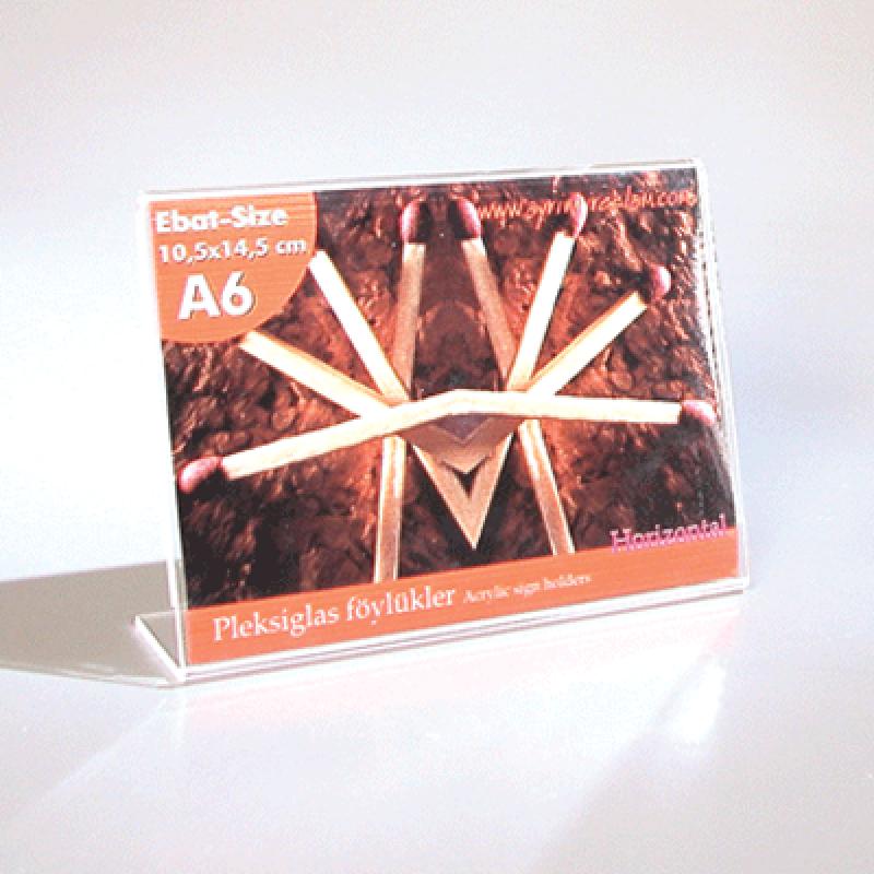 A6 L Tipi Yatay Masa Üstü Pleksi Föylük  (15 x 10,5 cm)