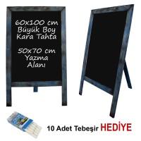 B&D Ahşap Çerçeveli Kara Tahta Yazı Tahtası Antik Mavi..