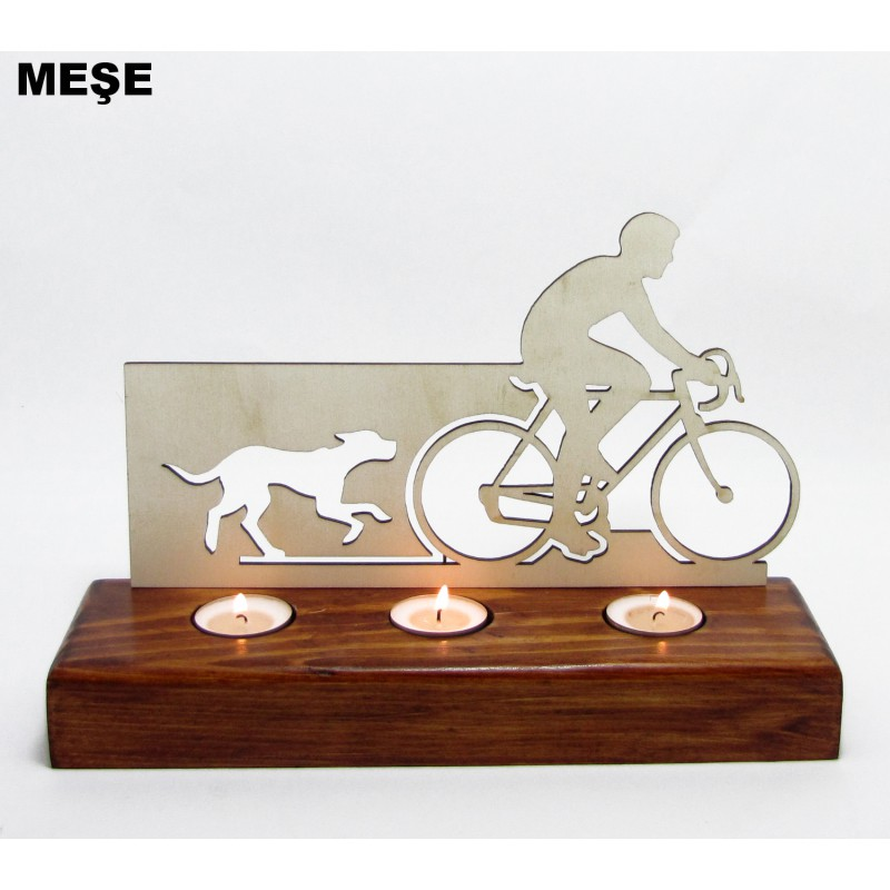 B&D Ahşap Tealight Mumluk Bisiklet