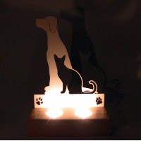 B&D Ahşap Tealight Mumluk Cat Dog..