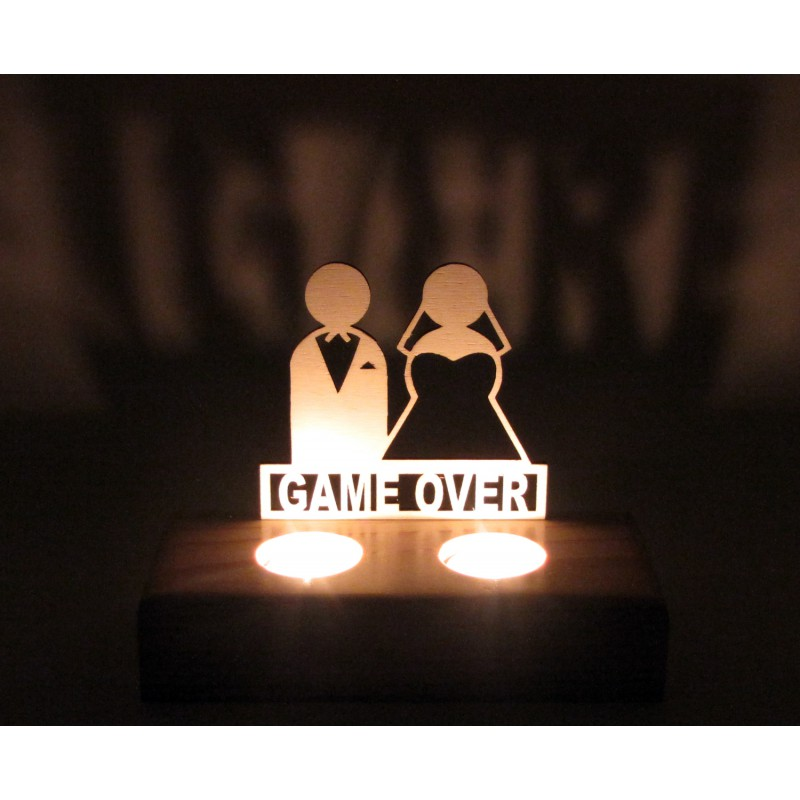 B&D Ahşap Tealight Mumluk Game Over
