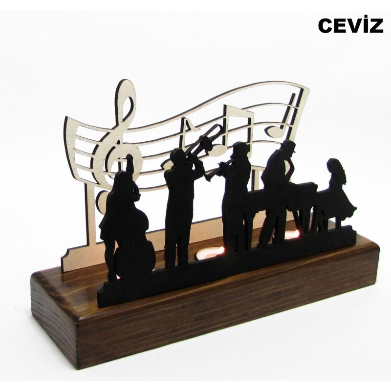 B&D Ahşap Tealight Mumluk Jazz