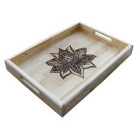 B&D Yakma Mandala Desenli Masif Tepsi 35x48cm..