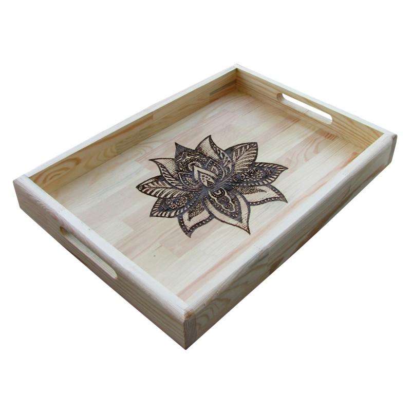 B&D Yakma Mandala Desenli Masif Tepsi 35x48cm