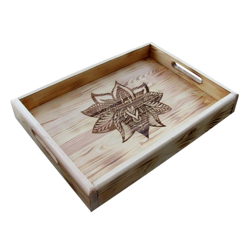 B&D Yakma Mandala Desenli Ahşap Tepsi Rustik 35x48cm