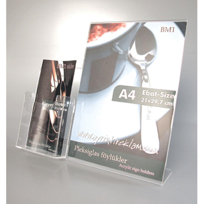 BM 1 A4 pleksi föylük ve 1/3 A4 broşürlük kombinesi