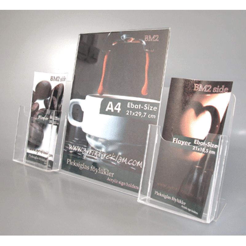 BM 2 A4 pleksi föylük ve 2x1/3 A4 broşürlük kombinesi