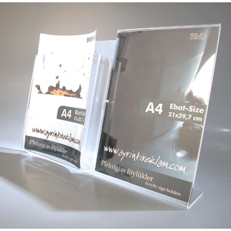 BM 3 A4 pleksi föylük ve A4 broşürlük kombinesi
