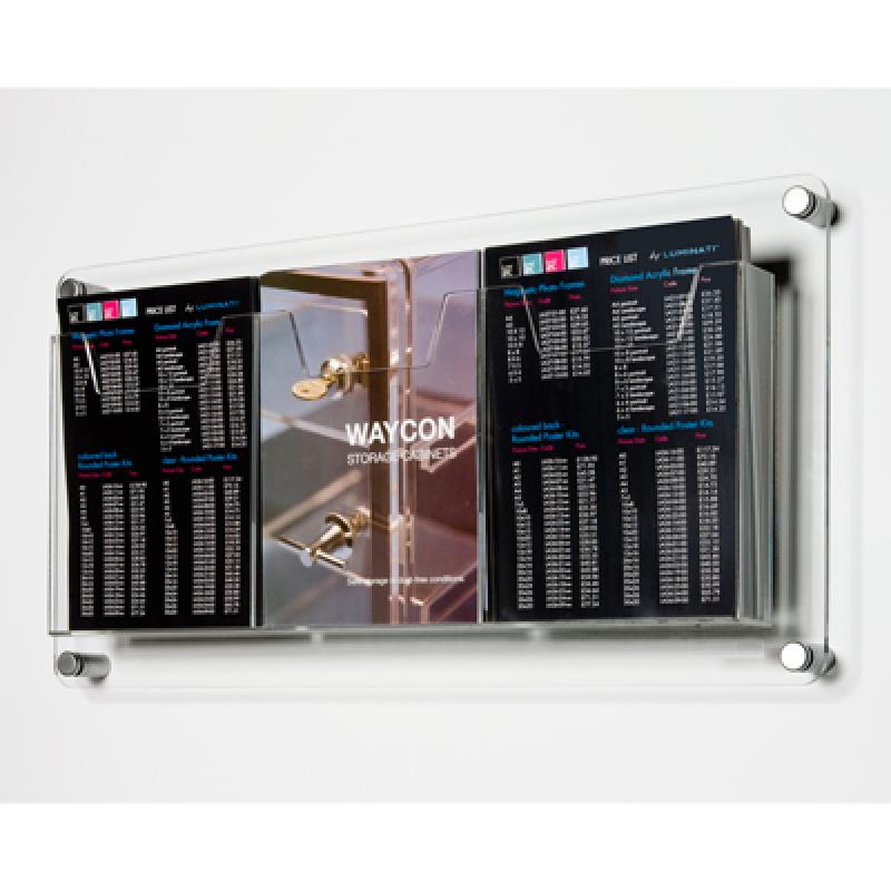 DBR 305 3xA4 Duvar montajlı tip pleksi broşürlük