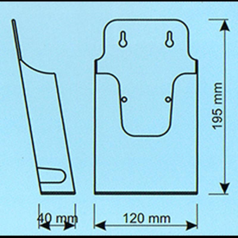 EBR 1 1/3 A4 (10,5x21 cm broşür için) Duvar montajlı kızaklı enjeksiyon broşürlük